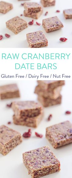 These Raw Cranberry Date Bars are super simple to make and are gluten, dairy, nut and refined sugar free. They make the perfect lunch box addition or car snack.