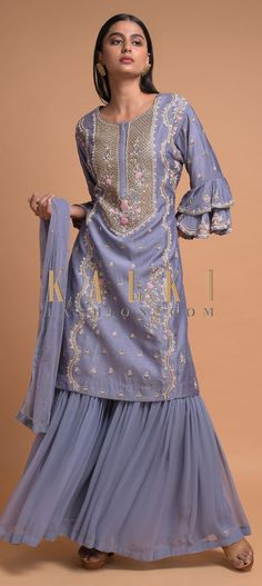 Buy Online from the link below. We ship worldwide (Free Shipping over US$100)  Click Anywhere to Tag Pigeon-Blue-Sharara-Suit-In-Raw-Silk-With-Ruffle-Cuffs-And-Floral-Embroidery-Online-Kalki-Fashion