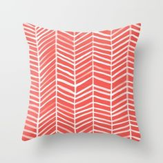 Coral Herringbone Throw Pillow Cover