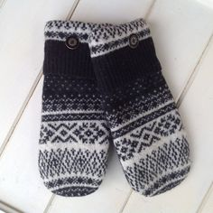 Women's Felted Lambswool Repurposed Sweater Mittens Size Small Black and White Design Black Metal  Buttons Black Fleece Lining Ready to Ship by SewforYou on Etsy