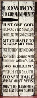 """COWGIRL STYLE DECOR  """"COWBOY 10 COMMANDMENTS"""" Hanging Western Sign Home Decor"""