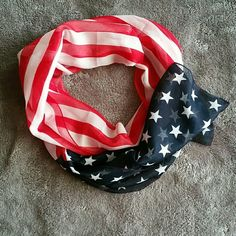 American Flag Decorative Scarf American Flag decorative lightweight scarf. Sheer lightweight fabric. In excellent condition. Fabric tag has been removed. Please let me know if you have any questions before purchasing. Boutique  Accessories Scarves & Wraps