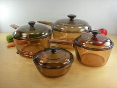 Corning Vision Ware 4 Set Sauce Pans Pots...I remember these, wonder if they even make them anymore?