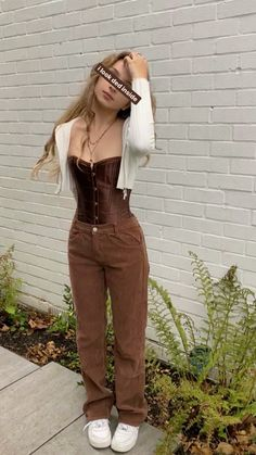 Adrette Outfits, Indie Outfits, Cute Casual Outfits, Retro Outfits, Vintage Outfits, Fashion Outfits, Aesthetic Fashion, Aesthetic Clothes, Brown Outfit