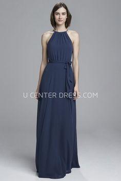 e2a27083746 Sheath Floor-Length Sleeveless Ruched High-Neck Chiffon Bridesmaid Dress  With Draping