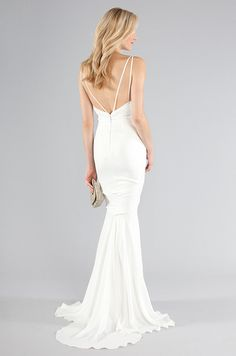 Slinky red carpet-worthy wedding dress from Nicole Miller, Fall 2013. Click to see the front of this dress.