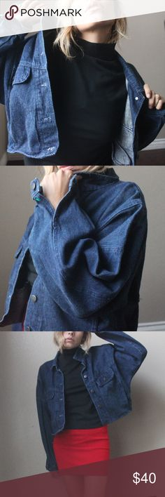 """Vintage Short  Denim Jacket very unique piece!  from triad express size large  loved the oversized look. dark denim  good shape/vintage condition  buttoned all front has a cute  back belt  18""""length  pit to pit 25"""" sleeve 22"""" Vintage Jackets & Coats Jean Jackets"""