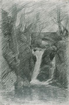 John Constable The Lower Cascade, Rydal 1806 Pencil on paper Landscape Drawings, Landscape Paintings, Art Sketches, Art Drawings, Travel Sketchbook, Geometric Drawing, Graphite Drawings, Contemporary Abstract Art, Beautiful Drawings