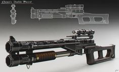 Here's another early concept for Chewie's double barrel blaster from Solo. The design later became the blaster for Dryden's enforcers Sci Fi Weapons, Fantasy Weapons, Weapons Guns, Rpg Star Wars, Star Wars Guns, Star Wars Concept Art, Weapon Concept Art, Science Fiction, Armes Futures