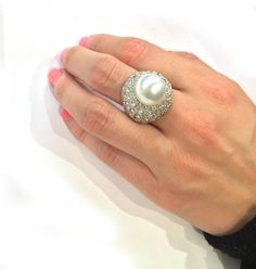 South Sea Pearl Diamond Gold Ring 6