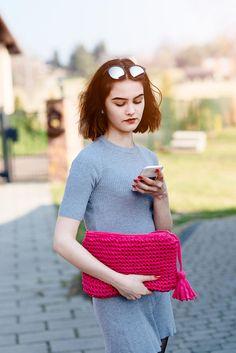 Pink Bag   Knit Pink Bag    Laptop bag   Evening Bag   Evening #bag #handmade #pink