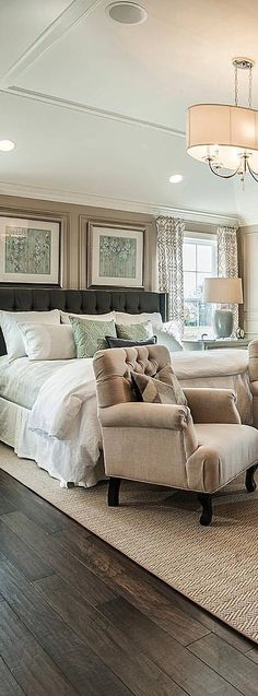 Sophisticated Bedroom Ideas | Soothing Master Bedroom retreat in shades of green, tan and white.