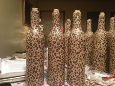 Repurposed wine bottles with mod podge and tissue paper. Can mod Podge music to decorate around the piano. Painted Wine Bottles, Painted Jars, Painted Wine Glasses, Bottles And Jars, Wine Bottle Glasses, Wine Bottle Corks, Wine Bottle Crafts, Zebra Craft, Tissue Paper Crafts