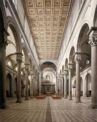 Nave of San Lorenzo - Filippo Brunelleschi.  Begun in 1419.  Florence, Italy.