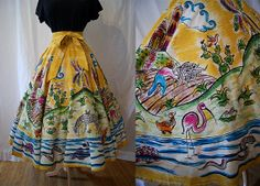 Rare 1950's hand painted colorful Mexican circle by wearitagain, $175.00