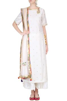 Ecru gota patti work kurta and sharara pants set with embroidered dupatta available only at Pernia's Pop Up Shop.