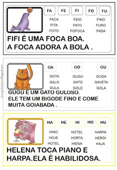 Atividades de alfabetização!! Direitos reservados somente para impressão e compartilhamento de links! Home Schooling, Professor, Homeschool, Activities, Education, Reading, Books, Gabriel, Reading Activities