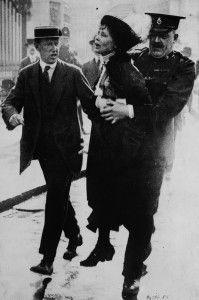 Celebrating Mighty Girl Heroes: Ten Women You Might Not Know, But Should:  1.  British suffragette leader Emmeline Pankhurst being arrested by police outside Buckingham Palace in 1914