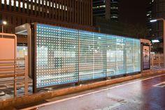 powerglass® media façade: bus shelter by Peter Platz Spezialglas | Facade design