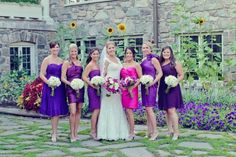 #purple #Bridesmaid #Dresses, in different shades & different styles
