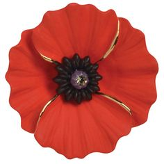 Large Fine Red Enamel and Crystal Peace Poppy Brooch - Large handcrafted red enamel Passion Poppy brooch encrusted with a single black diamond swarovski crystal in the centre on a gold plating and fastens with a flag pin and revolver clasp. Brooch Boutonniere, Remembrance Poppy, Royal British Legion, Poppy Brooches, Flag Pins, Small Flowers, Black Diamond, Poppies, Charity