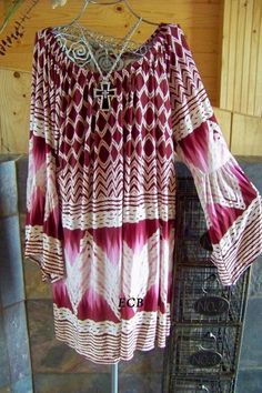 New made in USA burgundy print bell sleeve tunic top plus sizes are XL 2XL 3XL #MadeinUSA #Blouse #Casual