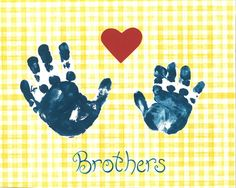 Capturing the sweetness of childhood, the two little #handprints of big brother and little brother are a perfect celebration of brotherly love. 8x10 #print $15.00