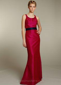 Fuchsia Sleeveless Floor Length A-line Bridesmaid Dress