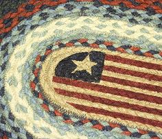 Country Rug (American Flag Rug) braided oval runner rug country decor
