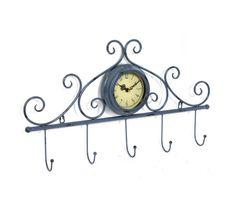 Perchero de pared de metal con reloj | Artículo Bellossignos