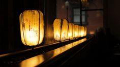 "HiiH Lights by Cineastas. HiiH Lights (pronounced ""Hi Hi"") - artists Lâm Quảng and Kestrel Gates, a husband-wife team who work together to make handmade paper lights http://www.hiihgallery.com/ via  http://uponafold.com.au/blog/post/hiih-paper-lights/"