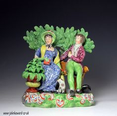 "Staffordshire pottery pearlware figure group known as ""Persuasion"" c1820"