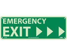 EMERGENCY EXIT (W/ RIGHT ARROW), 5X14, PS Glow
