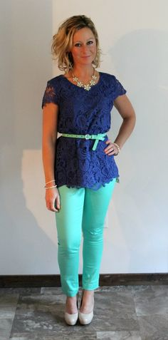 Stitch Fix Review Roselin Lace Overlay Blouse love this blouse and colors!