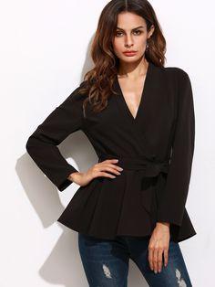 Shop Black Surplice Wrap Peplum Blazer online. SheIn offers Black Surplice Wrap Peplum Blazer & more to fit your fashionable needs.