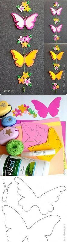View photo diy, paper, butterfly mobile
