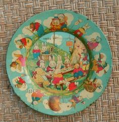 VINTAGE PETER RABBIT'S RADIO PARTY LITHOGRAPHED TIN PLATE RARE