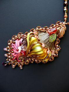 Bead embroidered Pendant PASSION necklace Shibori silk by Maewa