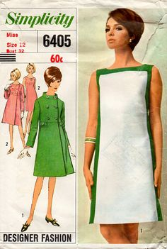 1960s Mod Dress & Coat Vintage Sewing Pattern by BessieAndMaive, $12.00