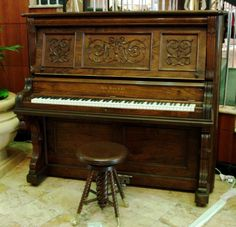 Behr Brothers Walnut Victorian Upright Piano | The Antique Piano Shop