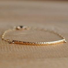 Gold Bar Bracelet Gold Filled chain, Minimalist