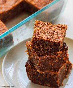 Flourless Peanut Butter Chocolate Brownies // wishfulchef.com #Healthy #Dessert