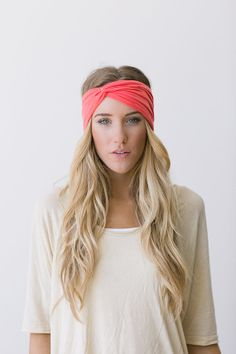 Turban Headband Women's Solid Jersey Turban Hair Band, Headband Head Wrap with Twisted Center for Women and Girls in Melon (HB-159) on Etsy, $18.00