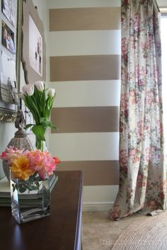 How To Paint Metallic Stripes! Such a cute idea!