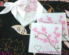 Favor de cristal de Gift_Wedding Souvenir_Wedding de la boda BD007 del práctico de costa del amor del flor de cereza del whoelsale de BeterWedding (50pcs, 25set)