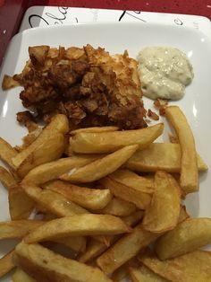 Salt & vinegar crisp Batter covered Haddock with Homemade chips