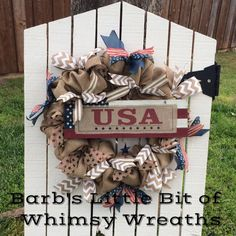 Patriotic USA Burlap Wreath Burlap by lilbitofwhimsywreath on Etsy
