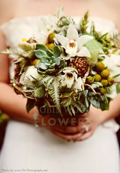 Orchids, succulents, baubles and greenery accents in a natural style bouquet Terrarium Centerpiece, Succulent Terrarium, Holiday Centerpieces, Flower Centerpieces, Succulent Outdoor, Lavender Green, Succulent Bouquet, Hanging Succulents, Cymbidium Orchids