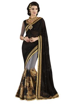 Buy Now Black-Grey Fancy Embroidery Net Georgette Half-Half Wedding Wear Saree only at Lalgulal.com. Price :- 4,632/- inr. To Order :- http://goo.gl/gWpCg5 COD & Free Shipping Available only in India
