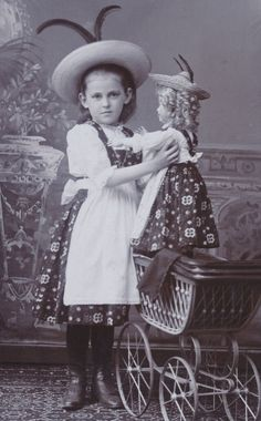 CDV: So cute! GIRL & DOLL in same TRADITIONAL FASHION; Silesia, 1908